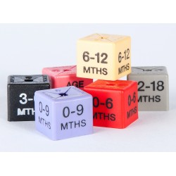 Age-by-month size cubes in packs of 50 cubes
