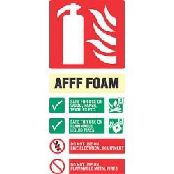 Fire equipment signs foam