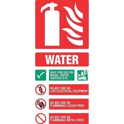 Fire equipment signs water