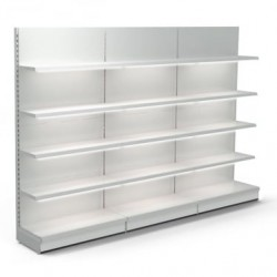 Retail Wall Shelving - 3 x Bays Including LED Lighting, 12 x 370 mm Shelves
